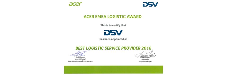 ACER best logistics provider award | DSV