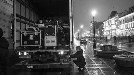 DSV truck in downtown St. Petersburg outside Mikhailovsky Theatre