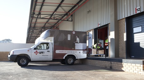 DSV Healthcare truck at warehouse facility in South Africa
