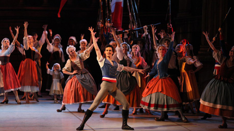 Scene from Flames of Paris production by Mikhailovsky Theatre