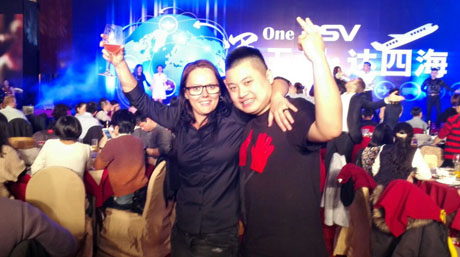 Rikke Thomsen with Akon Zhang at company party