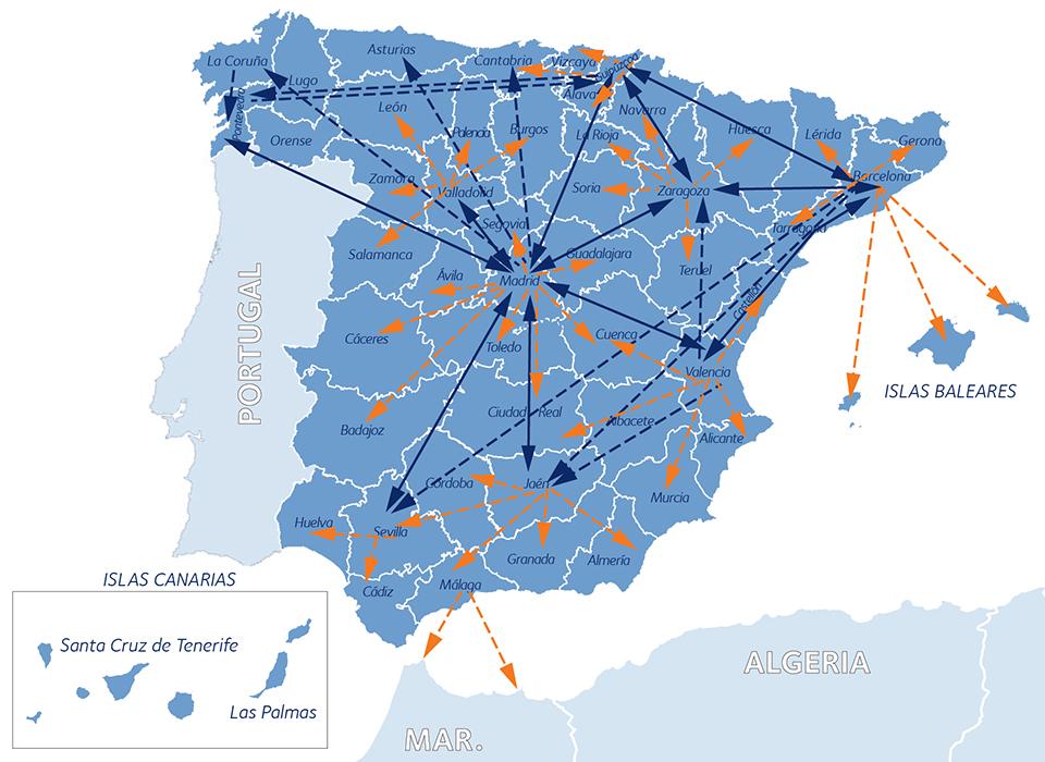 mapa red provincias espana portugal marruecos
