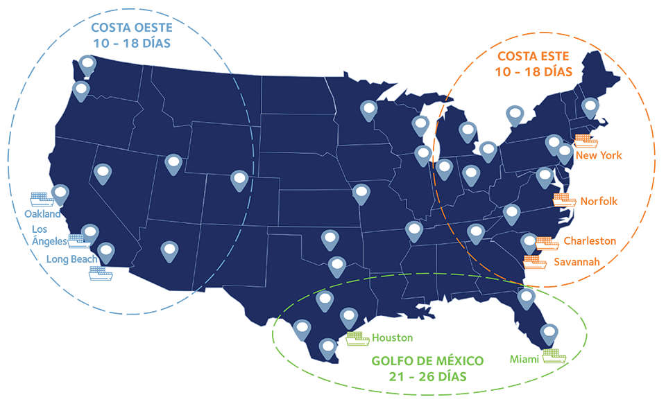mapa transit times usa estados unidos espana