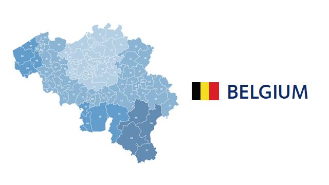 mapa codigos postales belgica