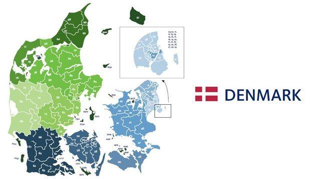 mapa codigos postales dinamarca