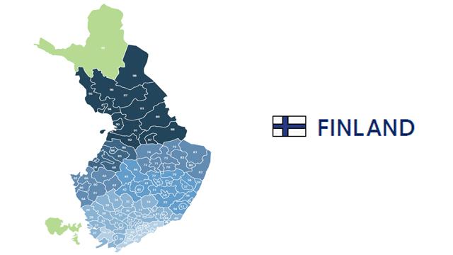 mapa codigos postales finlandia