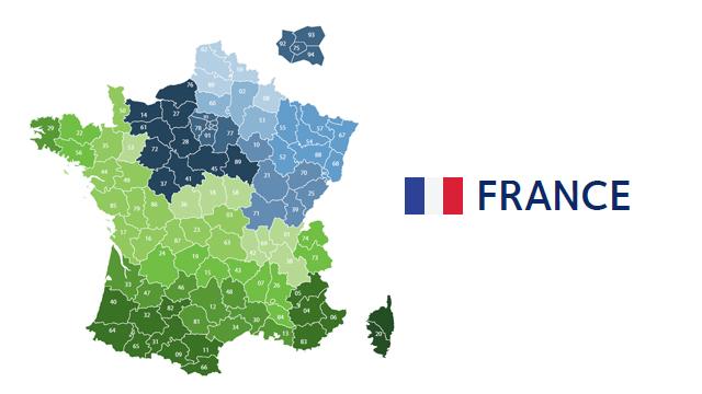 mapa codigos postales francia
