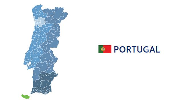 mapa codigos postales portugal