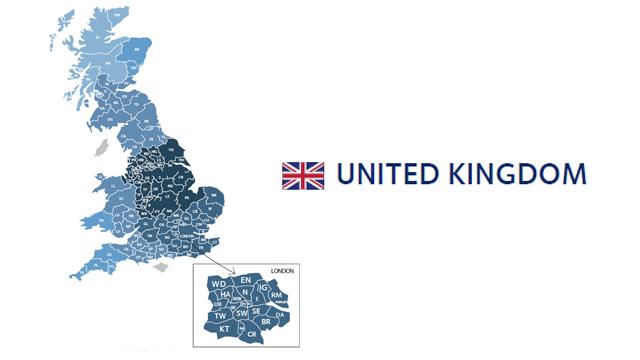 mapa codigos postales reino unido