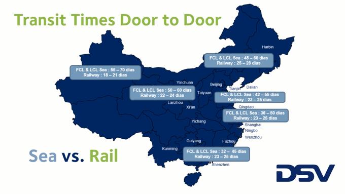 tiempo transito transporte china españa ferrocarril transit times tren