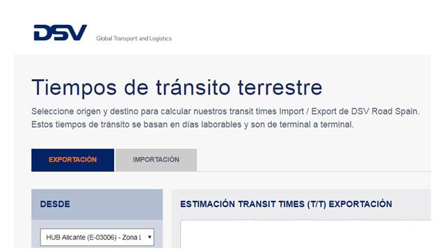 tiempos transito terrestre carretera transit times