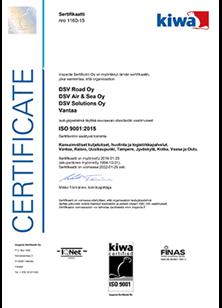 ISO 9001-2015 -laatusertifikaatti - pieni