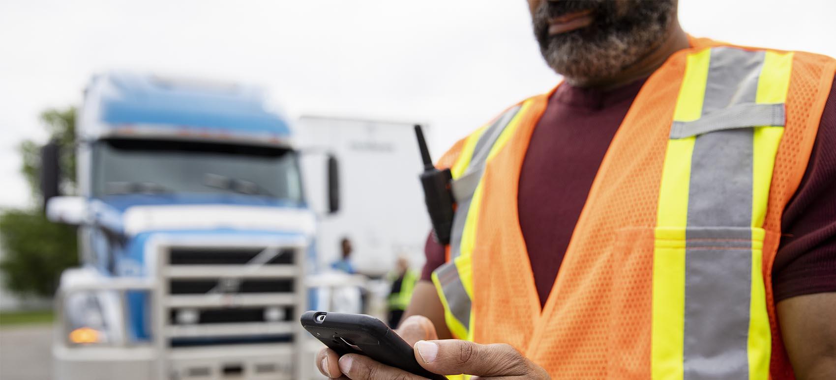 DSV trucker on phone