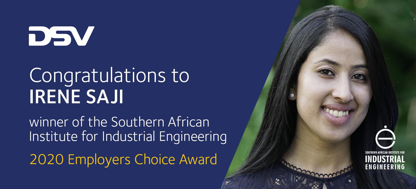 Industrial Engineer Award for Irene Saji