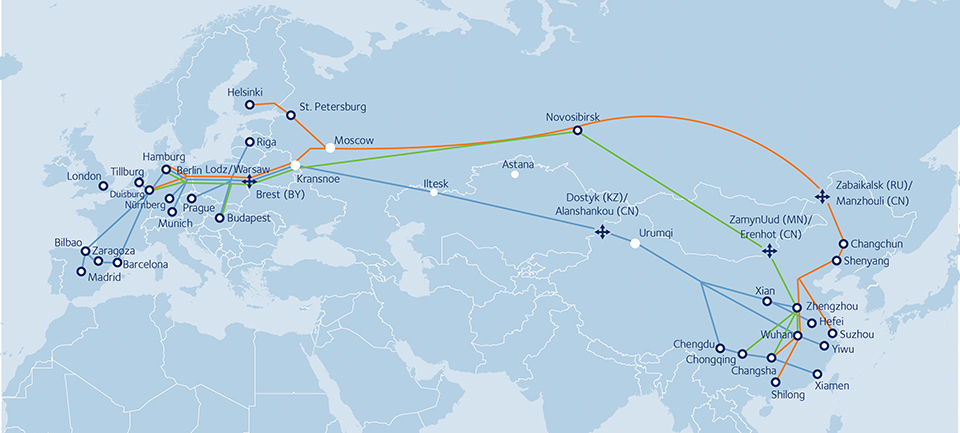 Rail freight transit between China and Europe
