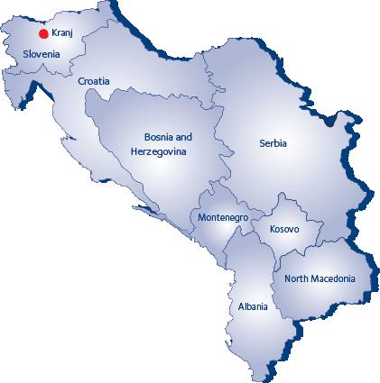 Slovenian ja Balkanin kartta