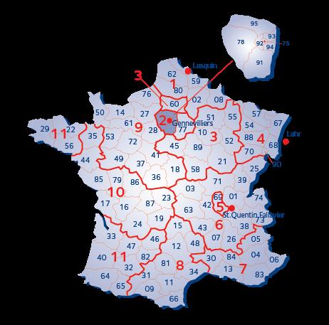Terminaalialuekartta - Ranska