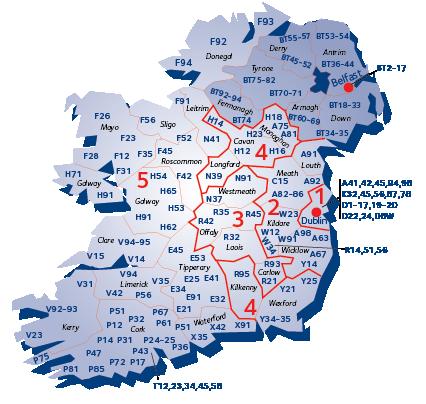 Postal code map of Ireland