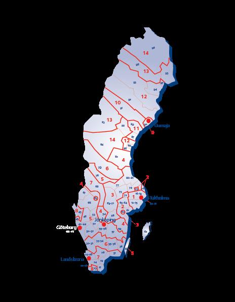 Ruotsin terminaalialuekartta