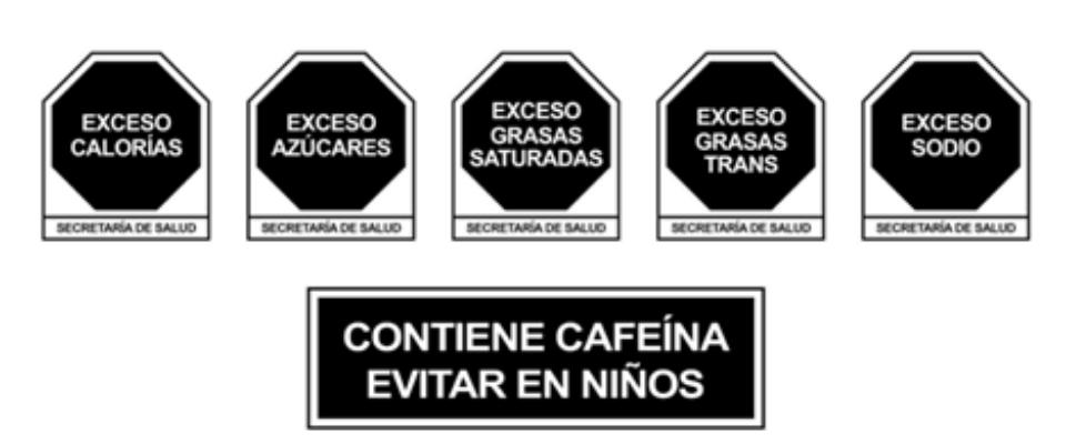 Sellos para Etiquetado NOM 051 Alimentos y Bebidas